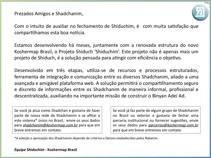 Em breve a nova platafora de Shiduchim - Integrando todos os Shadchanim em Koshermap Brasil