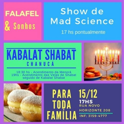 Show do Mad Science, seguido de Kabalat Shabat no Centro Novo Horizonte