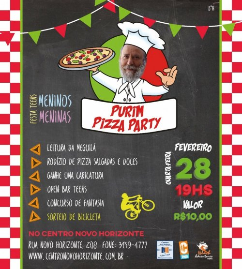 Purim Pizza Party, para Teens, no Centro Novo Horizonte