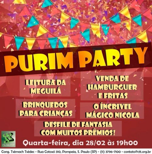 Purim Party na Congregação Tsemach Tsedec